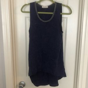 Scrapbook Distressed Navy Tank Top with Gray Trim